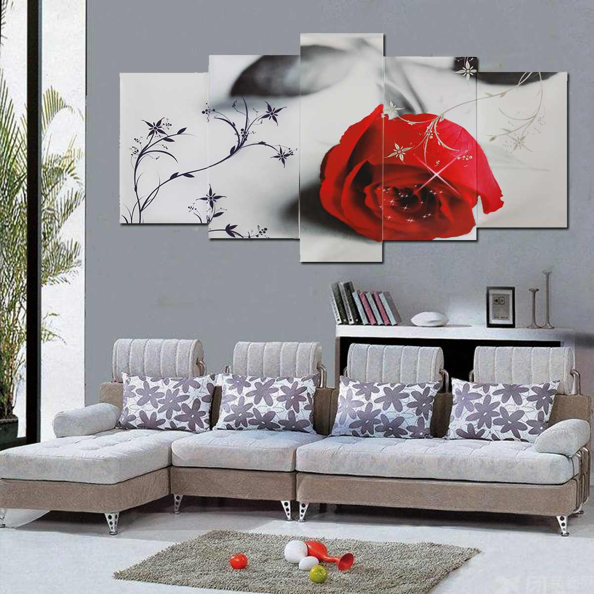 Canvas Paintings Wall Art HD Prints Home Decor No-Frame 5 Pcs Beautiful Red Rose Posters For Living Room Flowers Pictures
