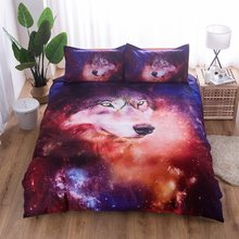 3D Bedding Set Wolf Starry Sky Duvet Cover With Pillowcases Wolf Eye Skull Bed Set 2pcs/3pcs Art Print Bedclothes Queen Size40(China)
