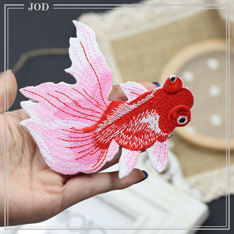 Chinese Style Embroidered Fish Patch Repair Clothes Hole Decorative Cheongsam Iron on Stickers Patches for Clothing Sewing Badge in Patches from Home Garden