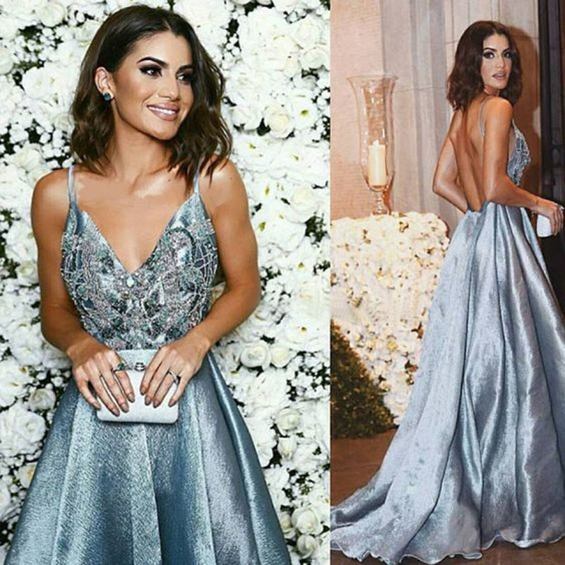 Prom     Dresses   Long 2018 New Cheap Deep V-neck Backless A-line Appliques Sleeveless Blue Long Party Gowns for Wedding Guest