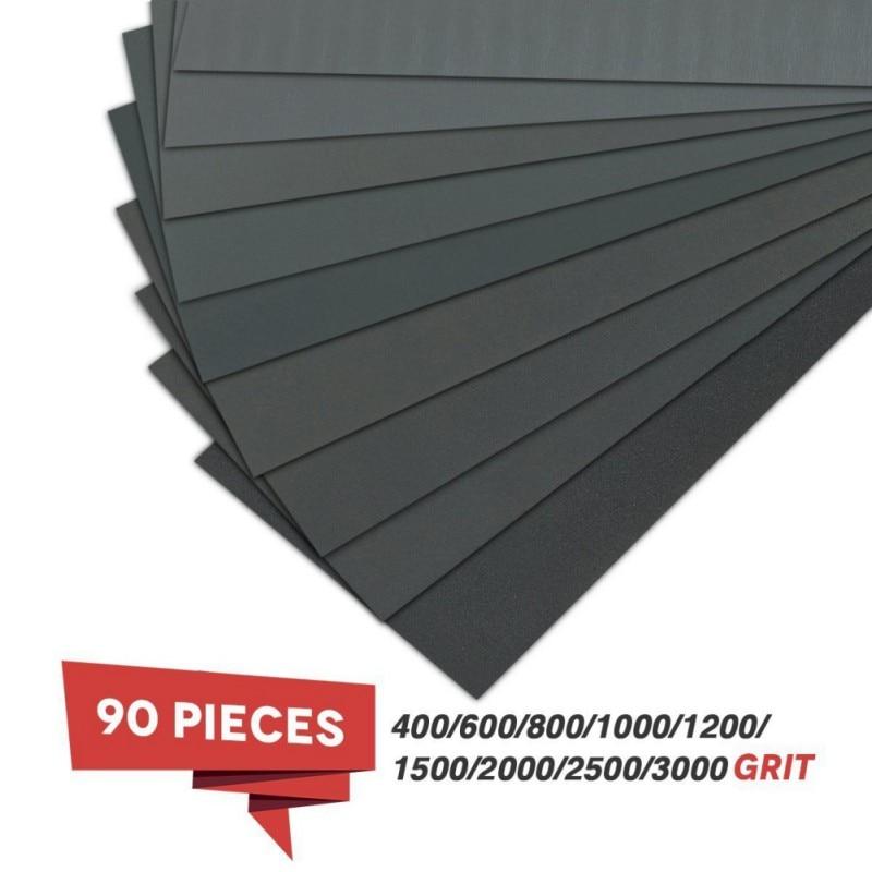 90pcs Assorted Grind Sandpaper 400 600 800 1000 1200 1500 2000 2500 3000 Grit Water/Wet Abrasive Sandpapers Waterproof 3.6 Inch