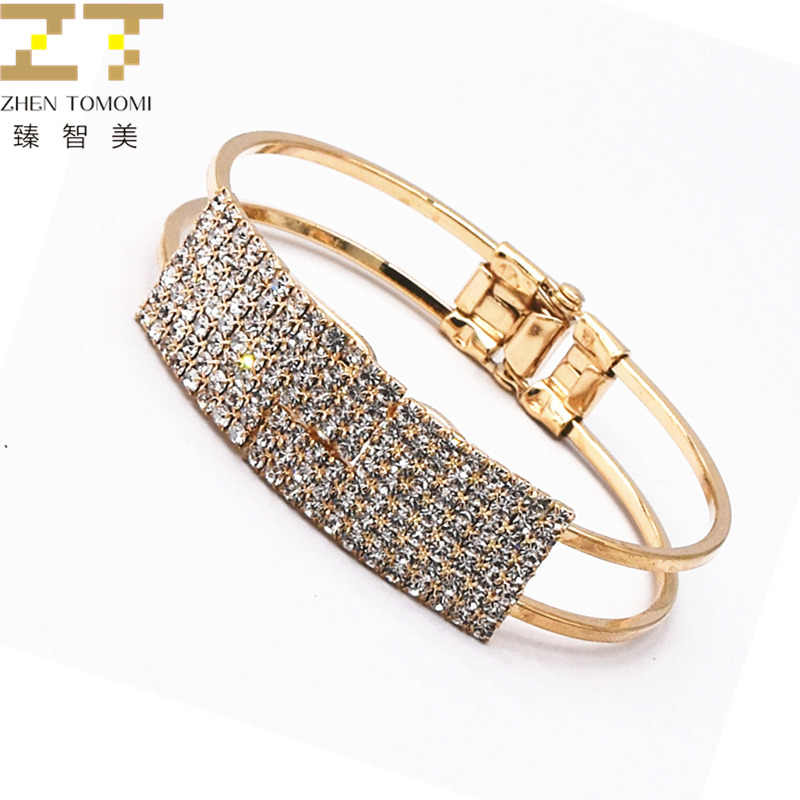 2018 Hot Fashion Ladies Gold Color&Silver Plated With Rhinestones Charm Wide Cuff Open Bracelets Bangles For Women Jewelry