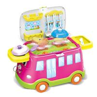 Multi functional Fast Food Car Pretend Toy Kitchen Barbecue Toys for Children Kids