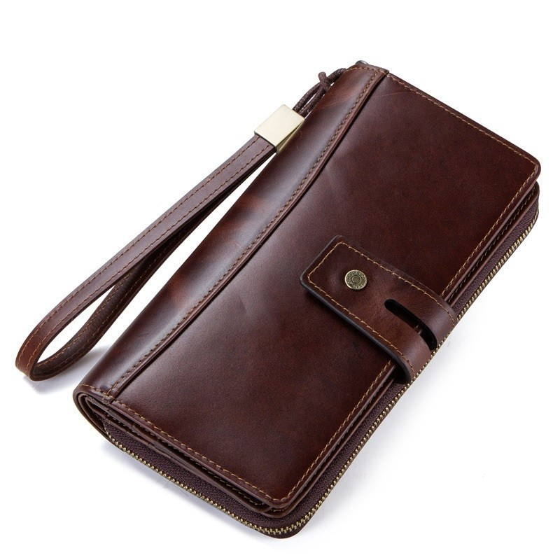 Vintage Genuine Leather Long Wallet Men Coin Purse Male Clutch Walet Portomonee Rfid PORTFOLIO Handy and