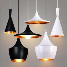 알루미늄 로프트 빈티지 산업 펜 던 트 라이트 블랙/화이트 lampshades 램프 커피 바 부엌 매달려 실내 조명