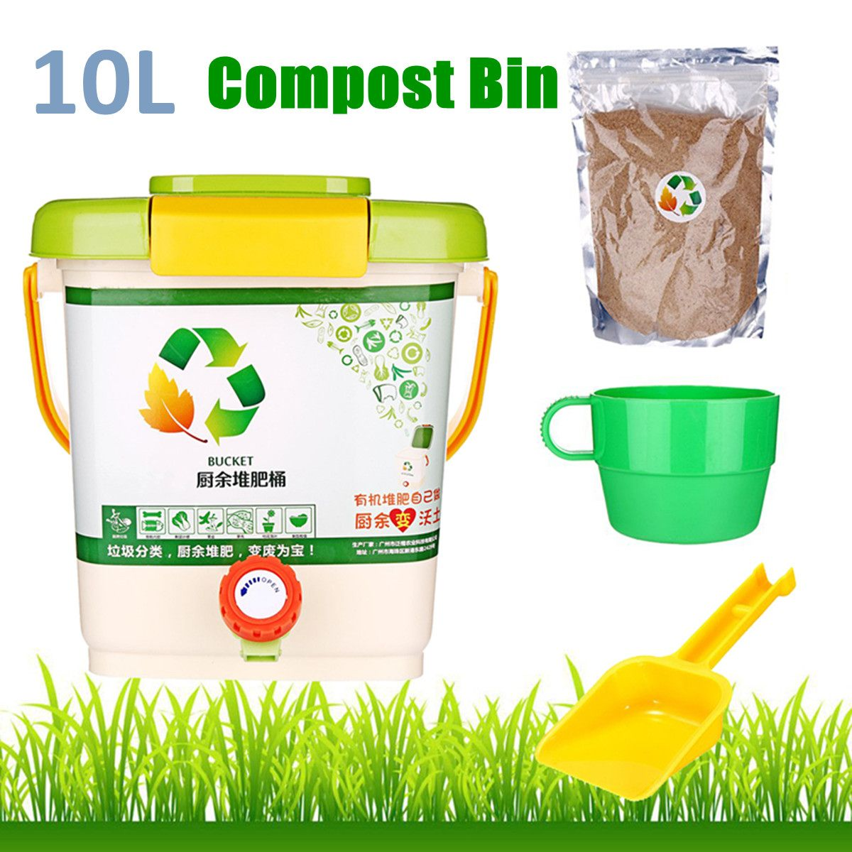 10L Kitchen Compost Bin Recycle Composter Aerated Compost Bin PP Organic Homemade Trash Can Bucket Kitchen Food Waste Bins|Waste Bins| |  - title=