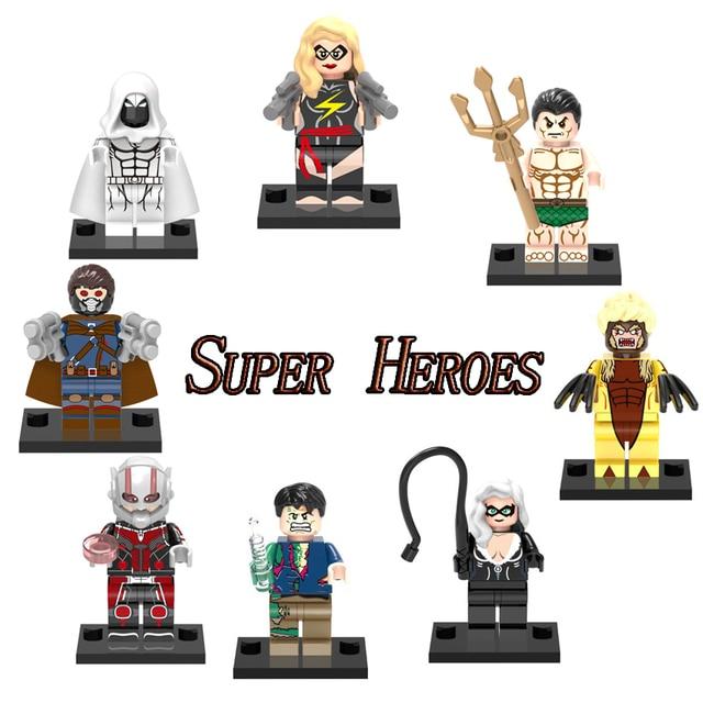 Venda homem Marvel Super Heroes Capitão Cavaleiro Da Lua Ant Black Cat Figuras Blocos Do Bebê Brinquedos Para Crianças Tijolos Super-heróis marvel