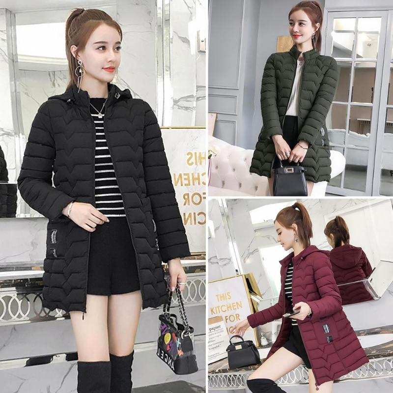 Solid Color Winter Jackets Women Slim Fit Fashion Zipper Hooded   Down     Coat