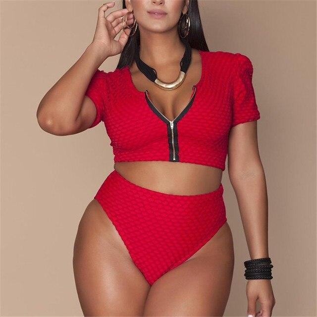a4f1b35b5e12f XL-4XL Plus Size Bikini Set Pad Zipper Front Swimsuit Large Swimwear 2019  High Waist Monokini Female Short Sleeve Bathing Suit
