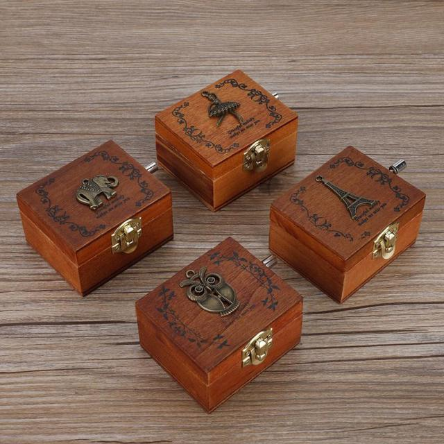 Patterned Wooden Hand Crank Music Box