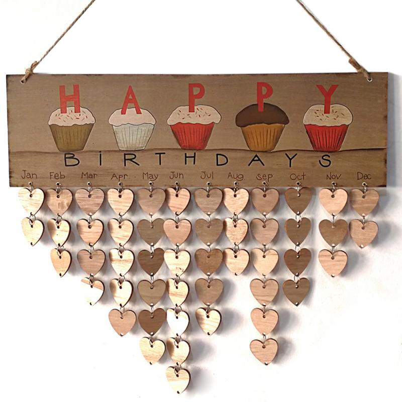 Diy Wall Calendar Cake Happy Birthday Printed Wooden Calendar Sign Special Dates Reminder Board Home Hanging Decor Gifts