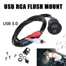New Style USB RCA Flush Mount Car Dashboard Plug-in Panel USB 3.0 3.5MM AUX Male To Female Extension Mount Cable(China)