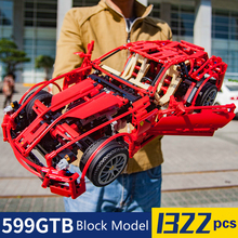 цены 1322pcs Formula Racing Car 599GTB 1:10 Model Building Blocks Sets Educational DIY Bricks Toys Compatible Technic 8070