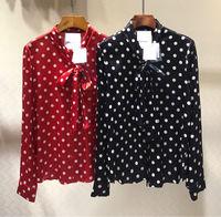 Новинка 2019 года; Шелковая Рубашка в горошек для женщин; Бесплатная доставка