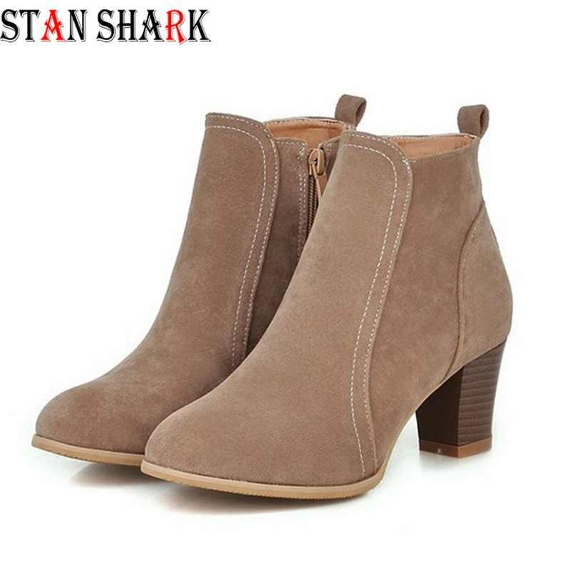 2019 Yeni Kadın Bahar Sonbahar yarım çizmeler Konfor Düşük Topuklu Ayakkabılar Kadın Kısa Sürme Patik Seksi Yüksek Topuklu Artı Boyutu 35 -41