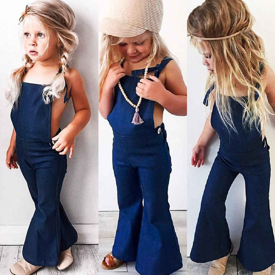 2019 Hot Toddler Kids Girls Denim Overalls Strap Bib Pants Boot Cut Solid Color Casual Clothes 1-6Years