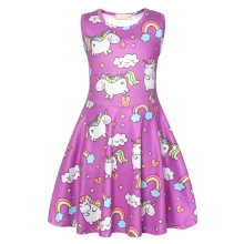 AmzBarley Girls Dress Rainbow Unicorn Kid Sleeveless Animal Cartoon Floral Print Elegant Princess Cosplay Costumes Dresses