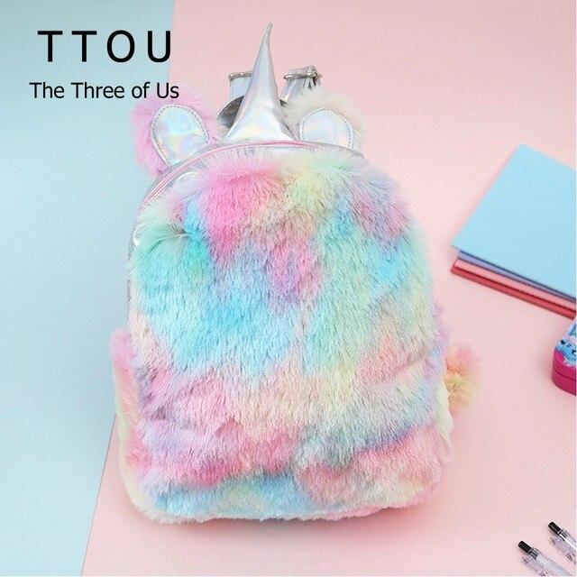 e7aa7374536 TTOU Hologram Women Leather Backpacks Unicorn Cute Backpacks For Girls Mini  Travel backpack Female Rucksack Plush