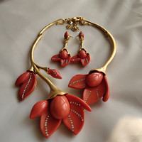 copper red resin Magnolia flowers short necklace earrings jewelry set