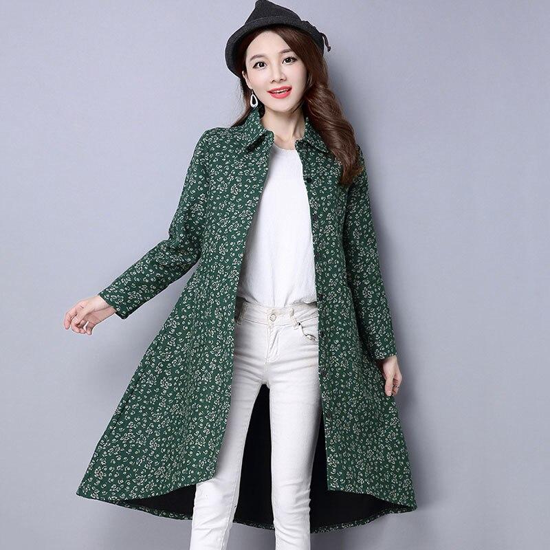 BUYKUD Vintage Shirt-Coats 2018 Autumn Winter New Long Sleeve Printed Coat Office Lady Irregular hem Women Button Linen Coats 5