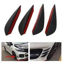 4Pcs/set Carbon Fiber Fit Front Bumper Fin Air Knife Auto Body Kit Car Spoiler Lip Splitter Canards Valence Chin Accessory Black(China)