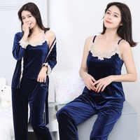 New Autumn Winter Pajamas for Women Long Sleeve 3 Pieces Set Gold Velvet Pyjamas Women's Sleepwear Pijamas Sets