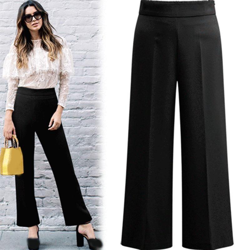 Spring Summer   Wide     Leg     Pants   Female Elastic Waist Casual office Trousers Elegant Women Plus Size   Pants