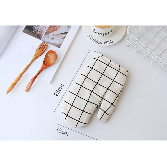 1 Piece Cute Non-slip Yellow Gray Cotton Fashion Nordic Kitchen Cooking microwave gloves baking BBQ potholders Oven mitts 5