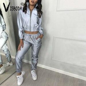 Image 3 - Women Tracksuit 2 Piece Set Hip Hop Reflective Crop Top Pants Fashion Female Loose Zipper Jacket Coat Matching Sets Plus Size
