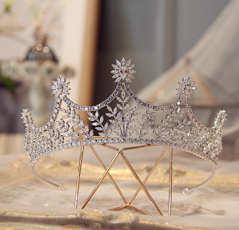 Vintage New Full AAA Clear Cubic Zirconia Sparking Brides Wedding Crown Tiaras Luxury Zircon CZ Princess