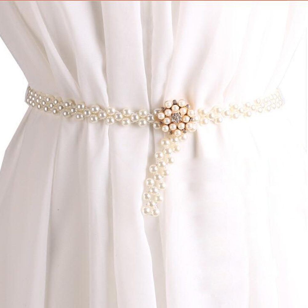 1PC Dress Pearls Wedding Belt Handmade Crystal Bridal Sash Simple Silver Rhinestones Bridal Belt Sash For Wedding Dresses