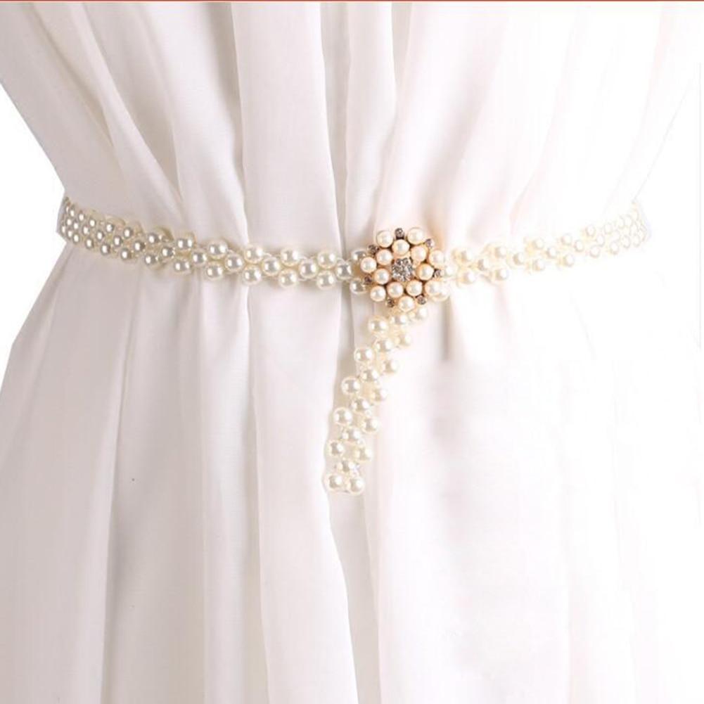 1PC Dress Pearls Wedding Belt Handmade Crystal Bridal Sash Simple Silver Rhinestones Bridal Belt Sash For Wedding Dresses