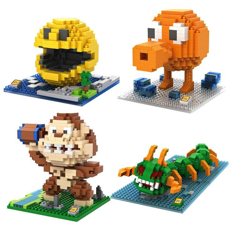 Pixels PacMan Micro Blocks Model DIY Assemble Action CartoonFigure Donkey Kong Qbert Building Kit Toy Boy Gift Cartoon 9617-9620 600rr anahtarlık