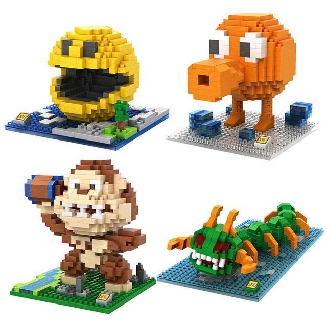 Piksel PacMan mikro blokları modeli DIY araya aksiyon CartoonFigure Donkey Kong Qbert yapı seti oyuncak çocuk hediye karikatür 9617 9620