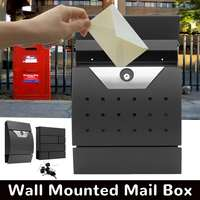 Lockable Stainless Steel Wall Mounted Mail Box Letter Box Newspaper Holder