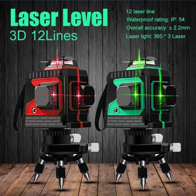3D 12Lines Green Laser Levels Self-Leveling 360 Horizontal And Vertical Cross Super Powerful Green Laser Beam Line