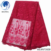 BEAUTIFICAL african party lace fabric french embroidery tulle net fabric lace 2019 ML4N736