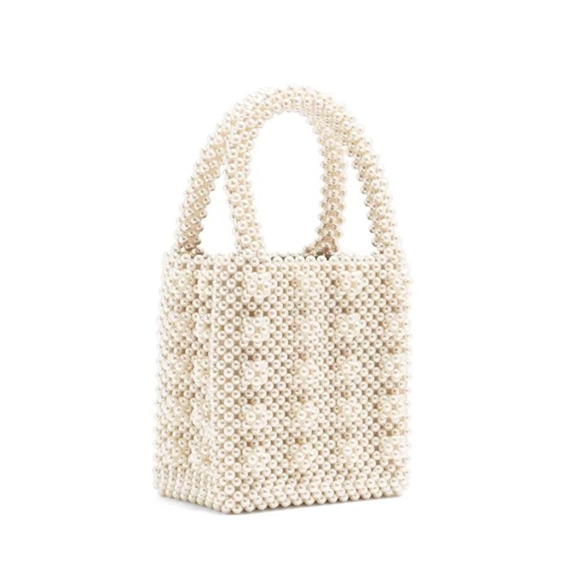 Ins New Hand-held Pearl Tote Retro Fashion Korea High Bright Pearl Summer  Women s Mini 42ddb73719bf