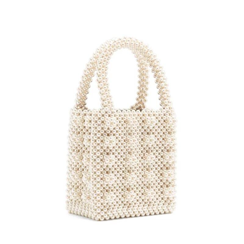 Ins Nouveau À main Perle Fourre-Tout Rétro Mode Corée Haute perle brillante D'été Femmes mini-sac Haut-poignée de Boîte sac à main de soirée