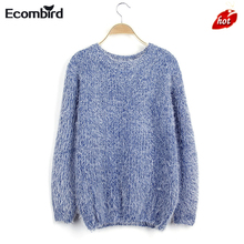 2016 HOT Women Fashion Autumn Winter Warm Mohair O-Neck Women Pullover Long Sleeve Casual Loose Sweater Sweaters Knitted Tops