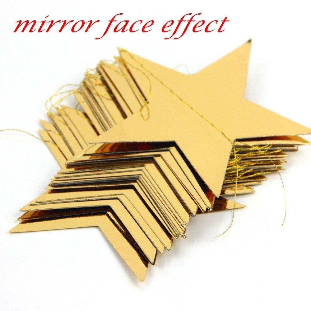 Guirnalda de estrella de papel de aluminio dorado, decoración de Feliz Año Nuevo, adornos de Merry Christmas árbol, decoración de Navidad para el hogar, 3,8 M, paquete de 1 unidad