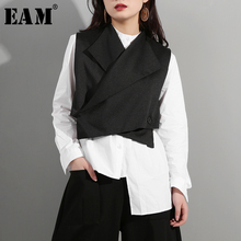 [EAM] 2019 New Spring Summer Lapel Sleeveless Black Button Cross Bandage Ribbon Stitch Vest Women Fashion Tide All-match WD81