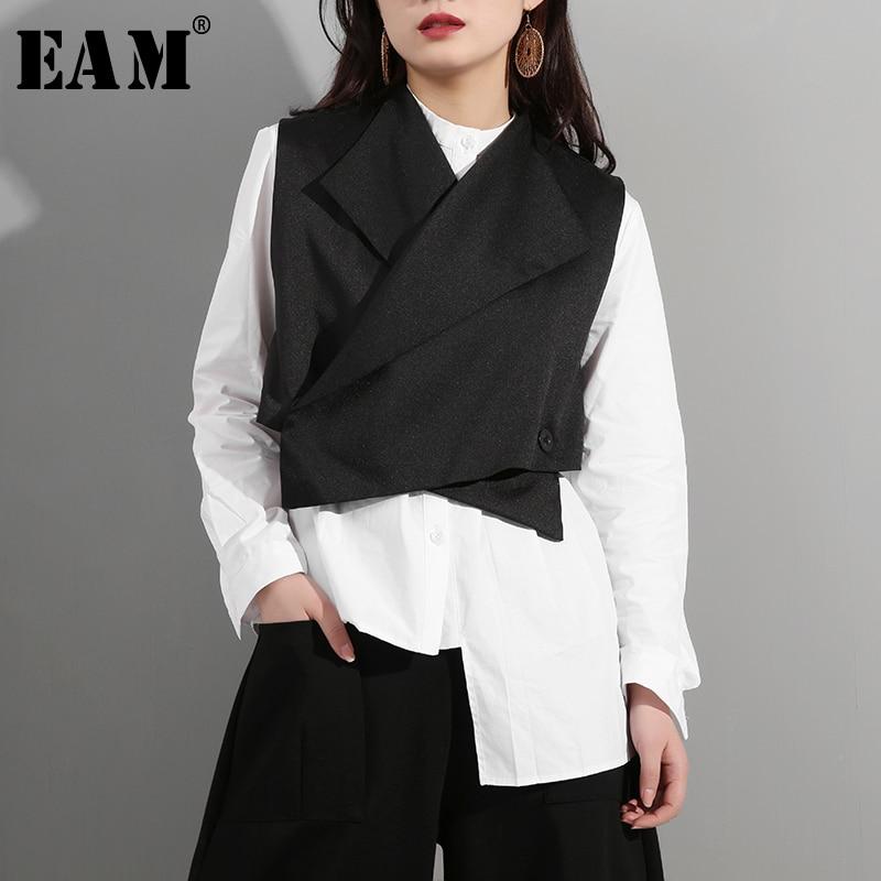[EAM] 2020 New Spring Summer Lapel Sleeveless Black Button Cross Bandage Ribbon Stitch Vest Women Fashion Tide All-match WD81
