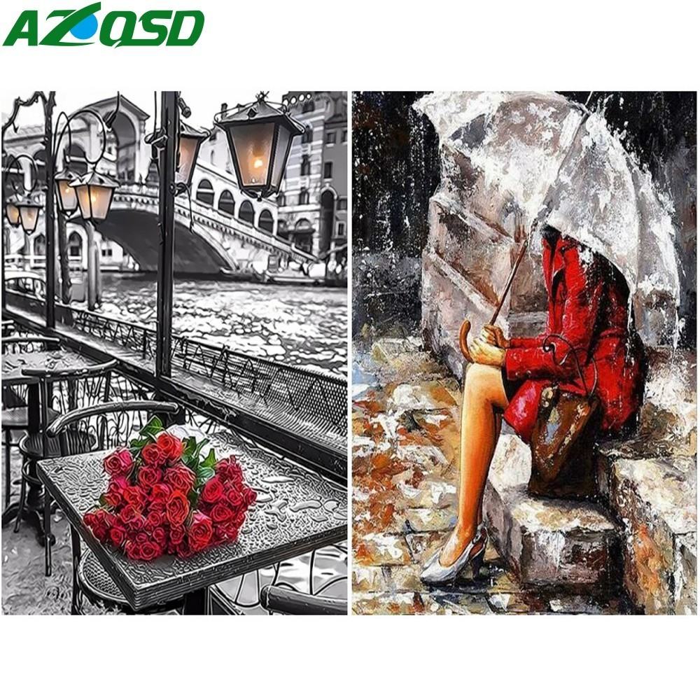 AZQSD Painting By Numbers Waiting For Love Home Decor Paint Canvas Picture Hand Painted DIY Oil Painting Rain Modern SZYH6341