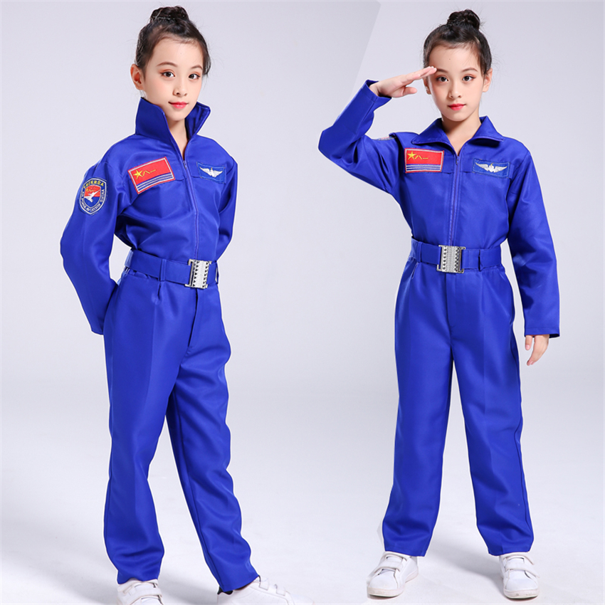 Children Cosplay Costumes for Boys Girls Pilot Air Force Military Uniform Kids Halloween Soldier Performance Clothing Pant Set