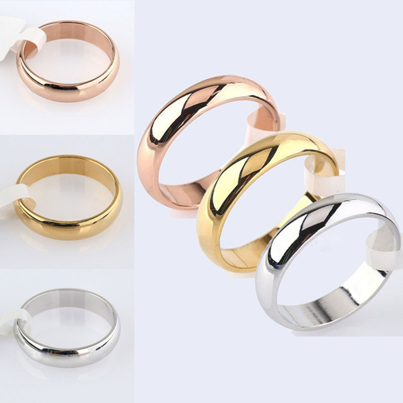 Simple Smooth Ring Stainless Steel Silver Gold Engagement Ring Couple Rings Tail Ring Fashion Jewelry Womens Accessories