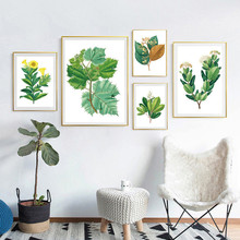 Watercolor Green Leaf Flowers Plant Cottage Canvas Print Poster Nordic Wall Picture Home Decoration Painting No Frame Decor