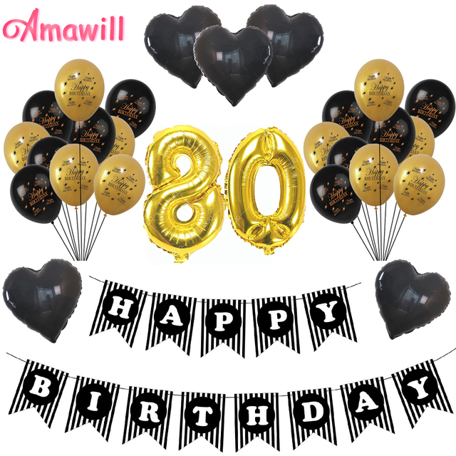 Amawill 80th Birthday Decoration Kit Black Happy Banner Heart Balloon Latex Globos Great 80 Years Old Party Supplies 8D