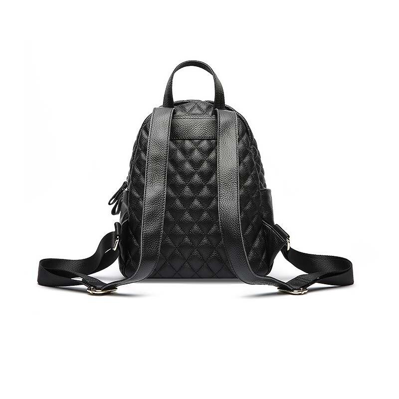 ALNEED sac à dos en cuir véritable femmes petit sac à dos pour concepteur d'école sacs de luxe femmes sacs 2019 treillis de diamant Mochila - 3