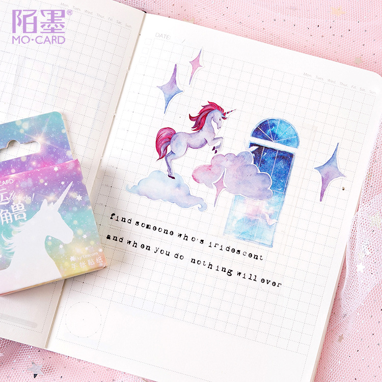 46Pcs Unicorn Stickers Set Deco DIY Diary Planner Bullet Journal Kawaii School Supplies Wedding Birthday Stickers Scrapbooking